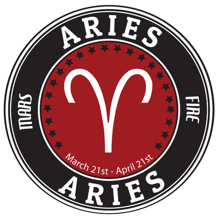 Aries zodiac astrology label photo