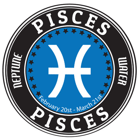 pisces sign: Pisces zodiac astrology label  Stock Photo