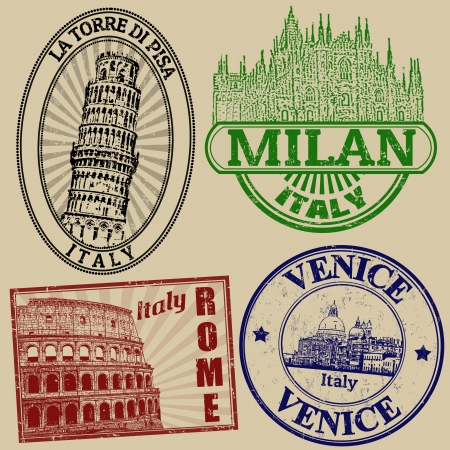 Set of grunge stamps with famous italian cities on retro background, vector illustration Иллюстрация