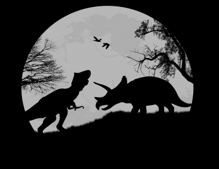 mesozoic: Dinosaurs Silhouettes - Tyrannosaurus T-Rex and Triceratops, in front a full moon, vector illustration Illustration
