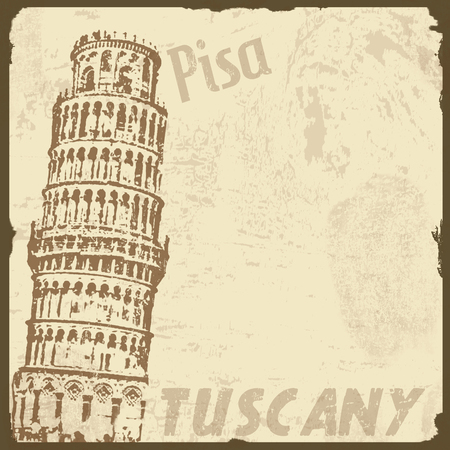 ecard: Vintage touristic poster background - Visit Pisa, Tuscany, vector illustration