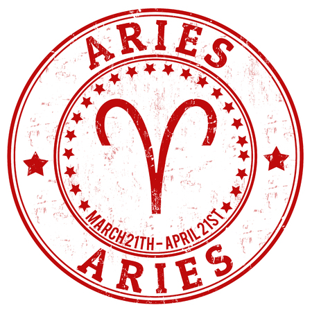 Aries zodiac astrology grunge stamp suitable for use on website, in print and promotional materials, and for advertising Vector