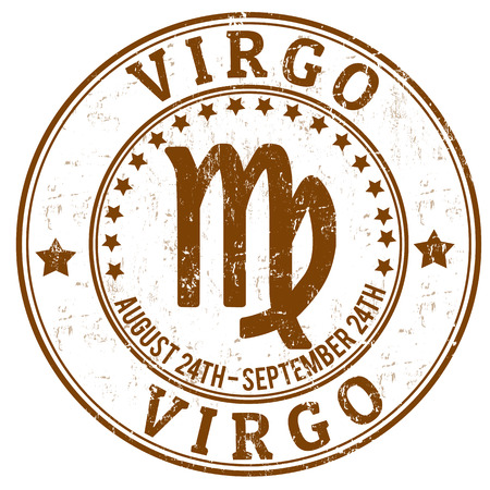 virgo: Virgo zodiac astrology grunge stamp suitable for use on website, in print and promotional materials, and for advertising Illustration