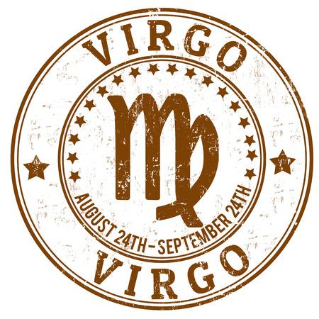 virgo: Virgo zodiaco astrolog�a grunge sello adecuado para su uso en el sitio web, en forma impresa y material de promoci�n y de publicidad
