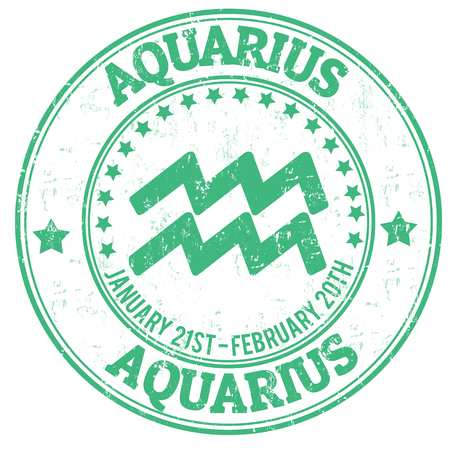 sun signs: Aquarius zodiac astrology grunge stamp suitable for use on website, in print and promotional materials, and for advertising