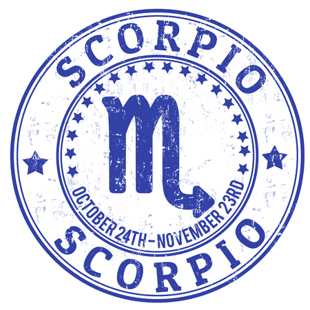 Scorpio zodiac astrology grunge stamp suitable for use on website, in print and promotional materials, and for advertising Vector
