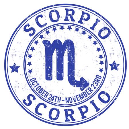 escorpio: Scorpio zodiac sello astrología grunge adecuado para su uso en el sitio web, en forma impresa y material promocional y de publicidad