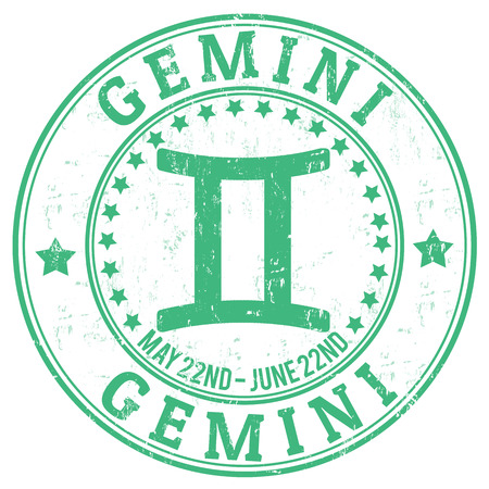 Gemini zodiac astrology grunge stamp suitable for use on website, in print and promotional materials, and for advertising Illustration
