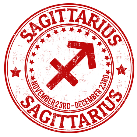 Sagittarius zodiac astrology grunge stamp suitable for use on website, in print and promotional materials, and for advertising Vector