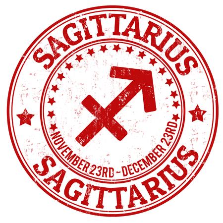 sagitario: Sagittarius zodiac sello astrología grunge adecuado para su uso en el sitio web, en forma impresa y material promocional y de publicidad