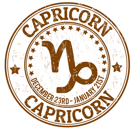 Capricorn zodiac astrology grunge stamp suitable for use on website, in print and promotional materials, and for advertising Vector