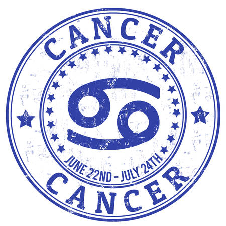 cancer zodiac: Cancer zodiac astrology grunge stamp suitable for use on website, in print and promotional materials, and for advertising