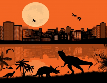 tonight: Dinosaurs Silhouettes - Tyrannosaurus T-Rex and Triceratops in front a city scape, vector illustration Illustration