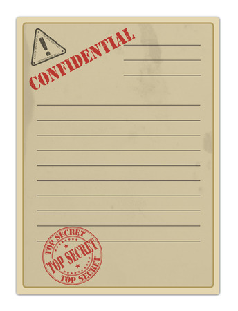Old Top Secret Document on white, vector illustration Vector