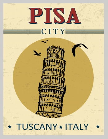 romanesque: Tower of Pisa, from Tuscany,  Italy  in vintage style poster, vector illustration