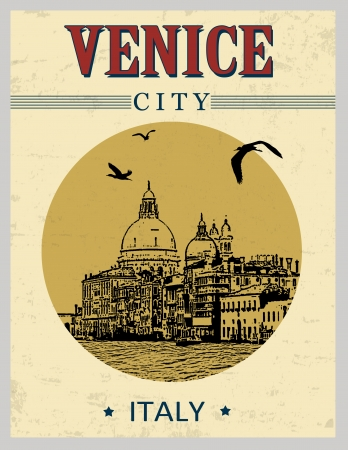 canal: Grand Canal and Basilica Santa Maria della Salute, Venice, Italy  in vintage style poster, vector illustration