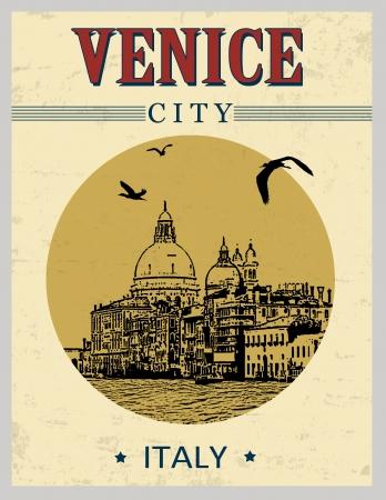 venice italy: Grand Canal and Basilica Santa Maria della Salute, Venice, Italy  in vintage style poster, vector illustration