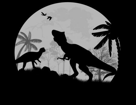 mesozoic: Dinosaurs Silhouettes - Tyrannosaurus T-Rex  in front a full moon, vector illustration