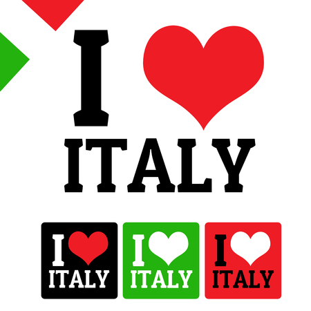 i love: I love Italy sign and labels on white background, vector illustration
