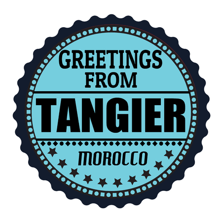 tangier: Label or  rubber stamp with text Greetings from Tangier, vector illustration Illustration