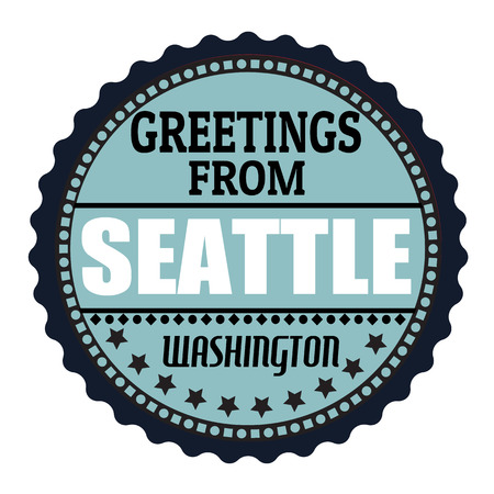 seattle: Label or  rubber stamp with text Greetings from Seattle, vector illustration Illustration