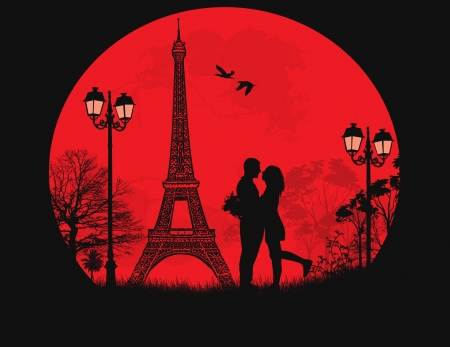 eiffel tower: Lovers in Paris on sunset background, vector illustration Illustration