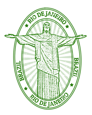 corcovado: Green grunge rubber stamp with the famous statue of the Christ the Redeemer from Rio de Janeiro, Brazil Illustration