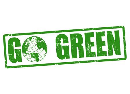 Go green grunge rubber stamp on white, vector illustration Vector