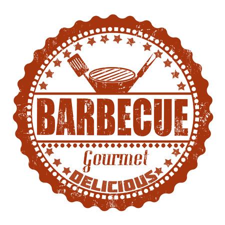 costillas de cerdo: Barbacoa grunge sello de goma en blanco, ilustraci�n vectorial Vectores
