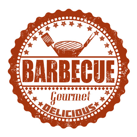 bbq ribs: Barbecue grunge rubber stamp on white, vector illustration Illustration