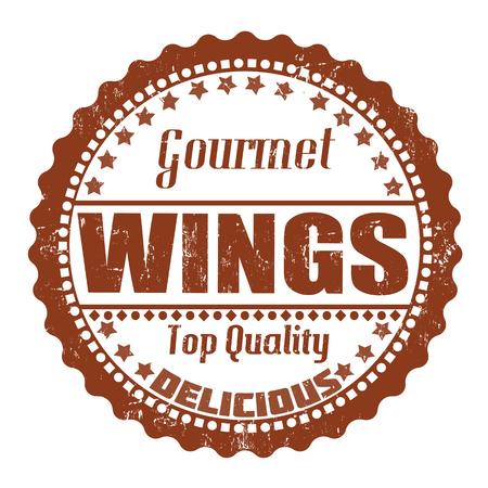 Wings grunge rubber stamp on white, vector illustration Vector