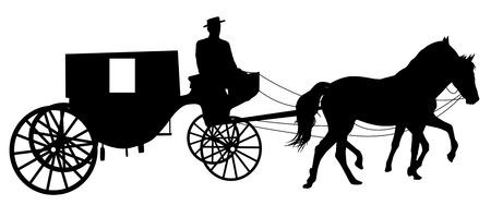 Silhouet van een paard te maken aan een kar op wit, vector illustratie