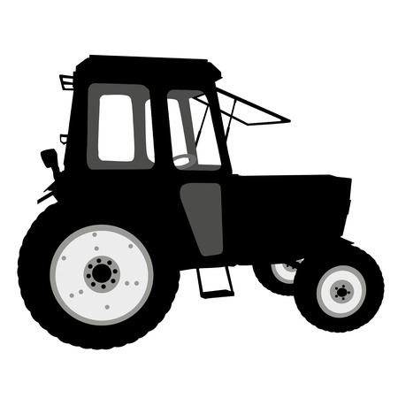 dredging tools: Silhouette of a tractor of road service on white background, vector illustration Illustration
