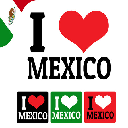 I love Mexico sign and labels on white background, vector illustration Vector