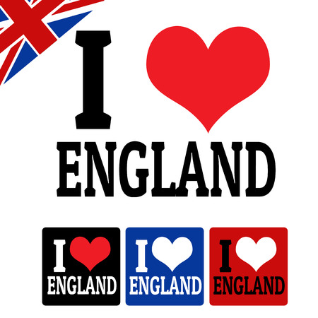 I love England sign and labels on white background, vector illustration Vector