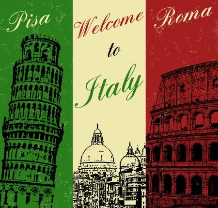 ようこそイタリア ビンテージ旅行ポスター、ベクトル イラスト 写真素材 - 23226063