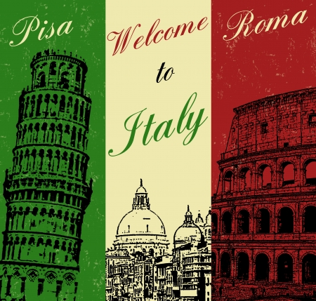 Welcome to Italy vintage travel poster, vector illustration Vector
