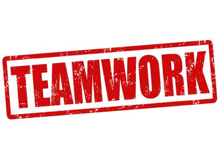 Teamwork Grunge Stempel auf weiß, Vektor-Illustration