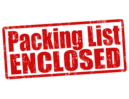 enclosed: Packing list enclosed grunge rubber stamp on white, vector illustration