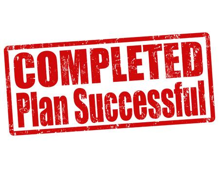 completato: Completato piano di successo grunge timbro di gomma su bianco, illustrazione vettoriale Vettoriali