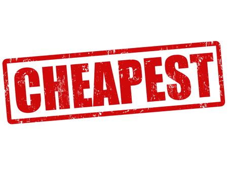 cheapest: Cheapest grunge rubber stamp on white, vector illustration