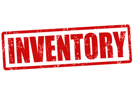 inventory: Inventory grunge rubber stamp on white, vector illustration