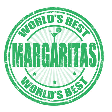 poolside: Grunge rubber stamp with the word Margaritas written inside the stamp