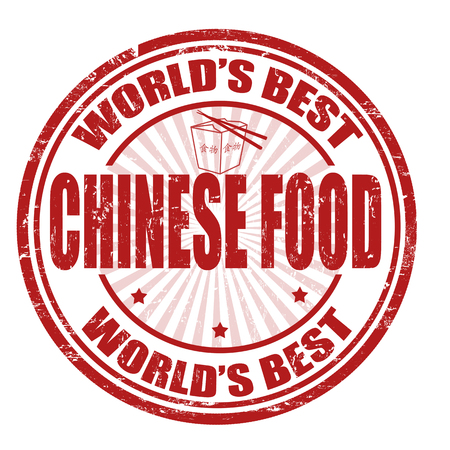 seasoned: Grunge rubber stamp with the word Chinese Food written inside the stamp