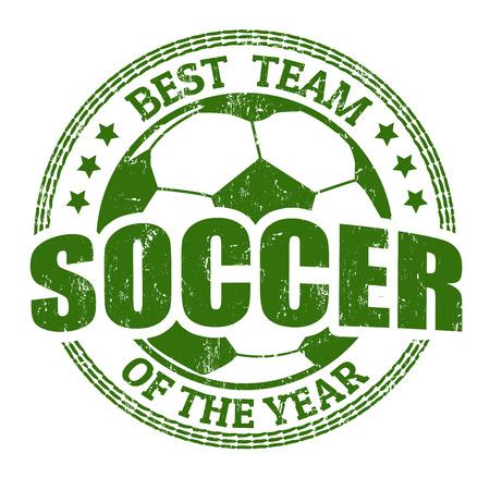 soccer: Soccer grunge rubber stamp on white, vector illustration