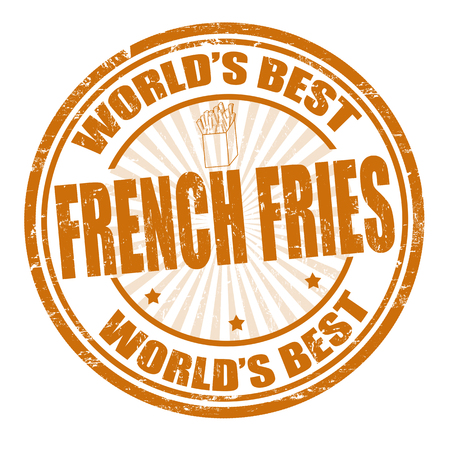 Grunge rubber stamp with the word French fries written inside the stamp Vector