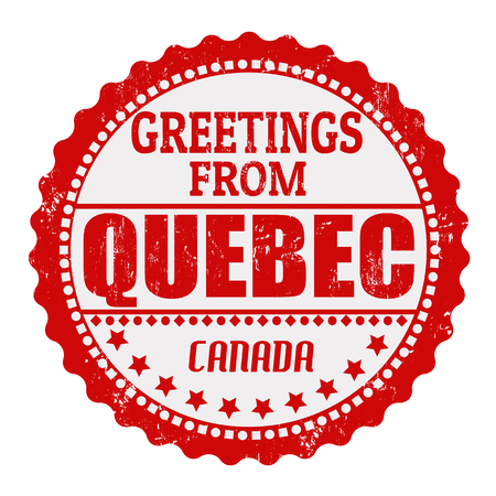 Label or  rubber stamp with text Greetings from Quebec, vector illustration Vector