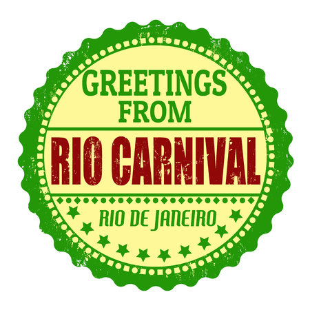 brazil symbol: Label or  rubber stamp with text Greetings from Rio carnival, vector illustration