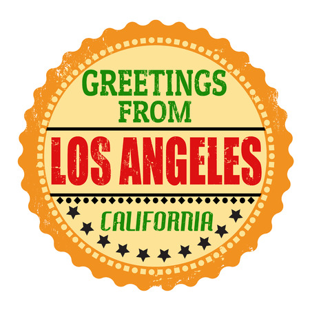 Label or  rubber stamp with text Greetings from Los Angeles, vector illustration Vector