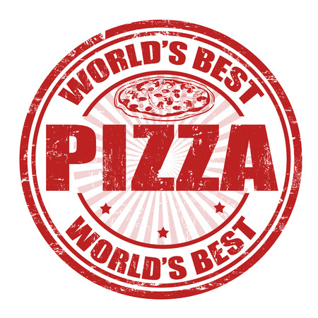 top menu: Grunge rubber stamp with the word Pizza  written inside the stamp
